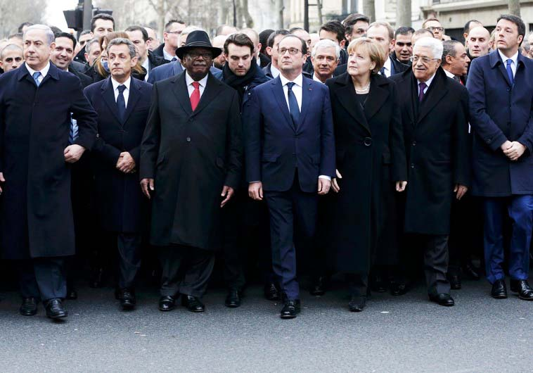 The farse in Paris. Holande first refuse to invite Netanyahu, and ended up with a PLO terrorists in the column.
